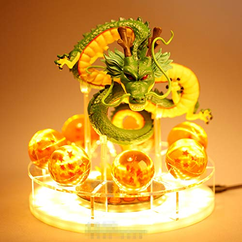 YA&NG Lámpara De Mesa Dragonball Dragon Ball Z Light Shenron Crystal Ball Luz De Noche LED DIY Figuras De PVC Pantalla Shenlong Ball Lámparas De Mesa USB Power Luces De Escritorio Juguetes