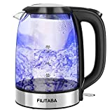 Electric Kettle, 1.7L Glass Water Kettle with Blue LED Indicator Light, BPA-Free Tea Kettle with Auto Shut-Off and Boil-Dry Protection, Fast Boiling