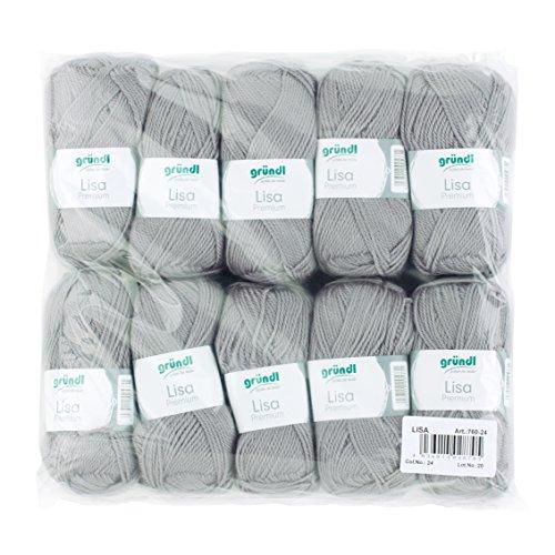 Gründl Lisa Premium Wolle, Polyacryl, kieselgrau, 133 m, Nadelstärke 3,5- 4,5, 10er Pack