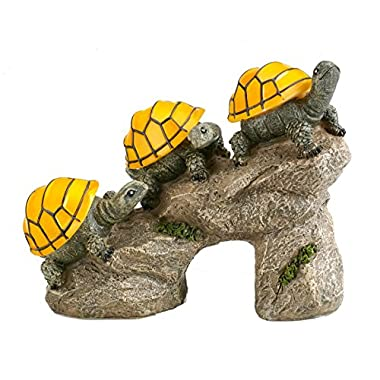 Solar Powered Turtles on Log Outdoor Accent Lighting LED Garden Light Decor