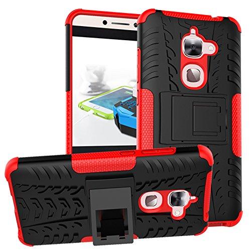 LeEco Le S3 Funda, Le 2 Funda - Heavy Duty Rugged 2 en 1 Armour estilo Suave Duro Hybrid Case Funda Shock Resistant con Kickstand Soporte Tapa Cover Para Letv LeEco Le S3 x626 / Le 2 / Le 2 Pro (Rojo)