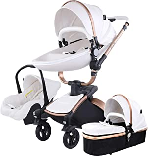 3 in 1 Baby Strollers Safety 2 in 1 Baby Strollers with car seat Leather Aluminium Alloy Frame Black Gold with Independent Sleeping Basket (White)
