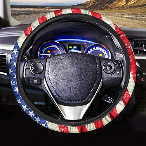 PZZ BEACH US Flag Steering Wheel Cover,American Flag Auto Car Steering Wheel Cover Universal 15 inch,Comfortable Driving for Jeep BMW Ford Chevrolet Corvette Volvo Audi Nissan Subaru etc