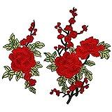 Lumanuby. 1 par de calcomanías Bordadas para Planchar o Coser, diseño de Parche de Flores de Ciruela, Bordadas, Tejidas a Mano, Bordado, Rojo, 2 Unidades
