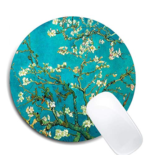 Blossoming Almond Tree Floral Art Round Mouse Pad,Premium-Textured Non-Slip Rubber Base Mousepads Office Accessories Desk Decor Mouse Pads for Computers Laptop