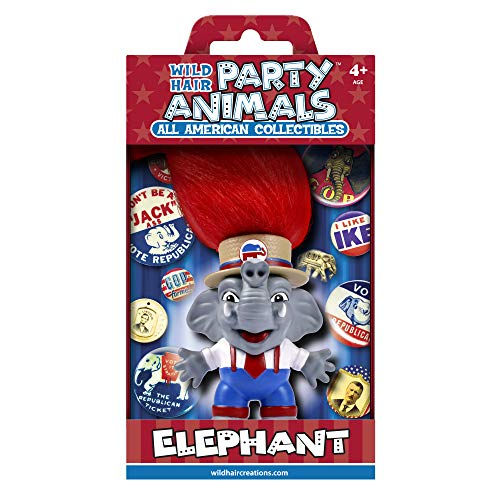 """WILD HAIR CREATIONS' G.O.P. Elephant, from Party Animals, 5.5"""" Collectible Vinyl Toy/Novelty Figure with Troll Hair and Colorful Packaging"""