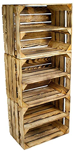 Kistenbaron 3er Set Schuhregal Bücherregal Weinkiste Obstkiste als Regal - Geflammt - Holzkiste Dekokiste (50 x 40 x 30 cm)