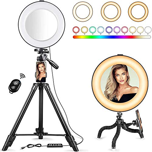 Selfie Ring Light - 14 Colors RGB Ring Light with 2 Adjustable Tripod Stand/Phone Holder/Camera...