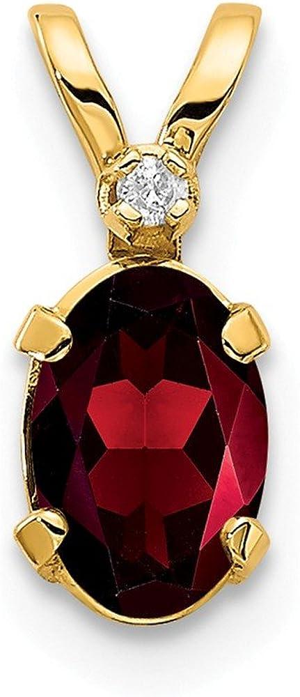 Solid 14k Yellow Gold Diamond and Garnet January Red Gemstone Birthstone Pendant Charm - 12mm x 4mm