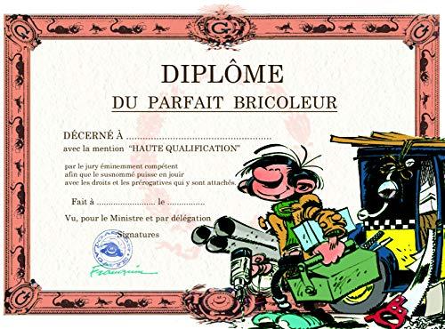 Gaston Lagaffe dubbele kaart, met envelop, Diplom du Parfait Petit Bouwer - boormachine