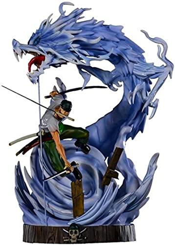 Figura de anime Tornado Santōryū Roronoa Zoro de una sola pieza de PVC, gran escultura decorativa, altura 33 cm