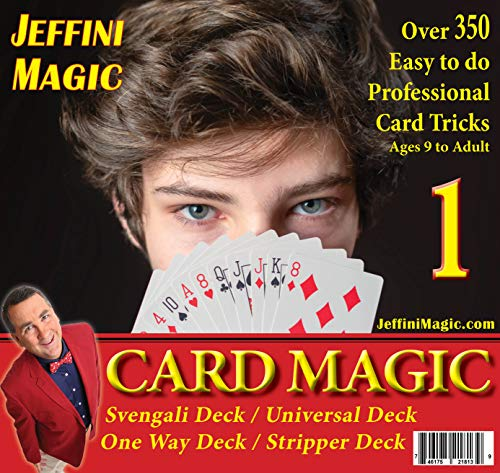 Jeffini's Card Magic kit - Magic Tricks for Adults & Teens, Includes 4 Trick Card Decks : Svengali Deck, Universal Deck, Stripper Deck, One-Way Deck, 4 Card Trick Books and Over 350 Card Tricks