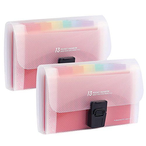 Toosunny 2 Pack Portable Rainbow Document Folder, 13 Pockets A6 Expanding File Organiser Handbag with Lid, Plastic Expandable Accordian Organizer Wallet for Receipts, Bills, Checks, Vouchers, Busines