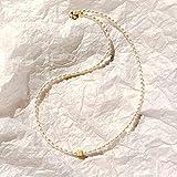 Perla de Agua Dulce Real 2-4 mm Forma de arroz 925 Cubo de Plata esterlina Gargantilla Delicada Collar Hecho a Mano