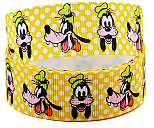 """Goofy Face 1"""" Wide Repeat Ribbon Sold in Yard Lots (3 Yards)"""