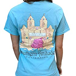 Southern Attitude 3 Little Pigs No Time For Huffing and Puffing Sky Blue Short Sleeve Shirt