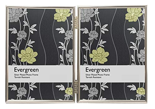 Evergreen Tarnish bestendige dubbele fotolijst, dunne rand, zilver gecoat Dunne rand 2x 6x8 inch 2x 6x8 Inch
