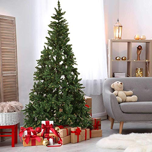 Olsen & Smith - Pre Lit Christmas Tree (7.5 Feet Tall)   Artificial Spruce LED Christmas Tree with Metal Stand & Holiday Colored Christmas Tree Skirt   Hinged Trunk for Easy Install & Storage