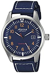 Stainless steel watch with blue nylon strap and blue dial with orange numerals, white hands Hours, minutes, seconds, date Swiss-quartz Movement Case Diameter: 42mm Water resistant to 100m (330ft): in general, suitable for swimming and snorkeling, but...