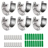 Cosweet 6 Packs Stainless Steel Closet Pole Sockets- Closet Rod End Supports, Flange Set Rod Holder with Screws for Easy Installation&Quick Removal (U Shaped)