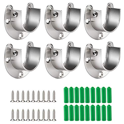 Room Rotating Wardrobe Rail Rod Ends Supports Bracket Curtain Ends 46 x 30mm