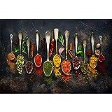 ZXWL Küche Wandkunst Körner Gewürze Löffel Paprika