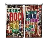 90% cortinas de música opacas, diseño retro con símbolo de rock y rollo, colores envejecidos, tema de música de sonido para el dormitorio, sala de estar, 200 x 230 cm, multicolor