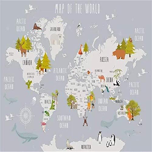 BIZO Wandaufkleber Wandbild Kinderzimmer Wand 3D Fototapete Cartoon Weltkarte, 320 * -480 cm Kunst Aufkleber Wandbild,200 * 140 cm