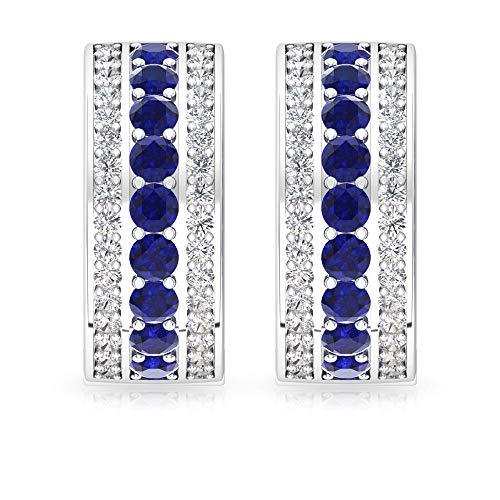Rosec Jewels 10 quilates oro amarillo redonda round-brilliant-shape H-I Blue Diamond Blue Sapphire
