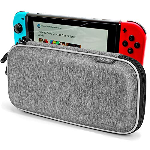 Carrying Case for Nintendo Switch, Anti-Deformation Hard Premium Waterproof Material Carry Case for Switch, with 10 Games Cartridges Storage and Portable Carrying Lanyard-Gray (Grey)