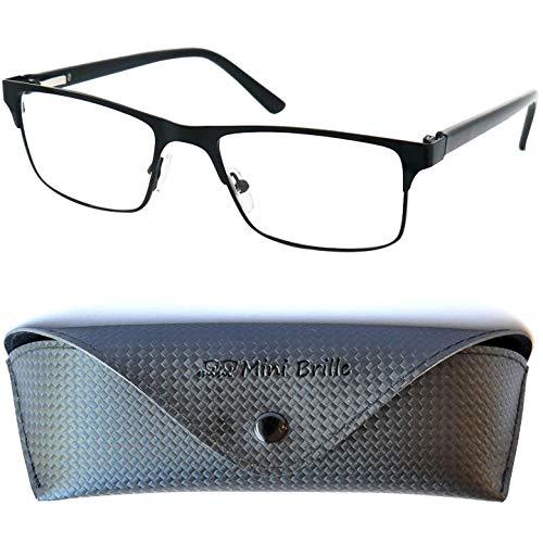 Metall Lesebrille mit rechteckigen Gläsern - mit GRATIS Brillenetui, Edelstahl Brillengestell (Schwarz), Lesehilfe Herren und Damen +3.0 Dioptrien