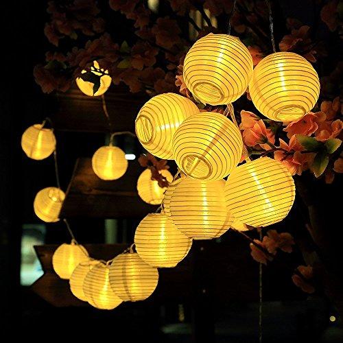 InnooTech 6m 30 LED Solar warmweiß Lampion Lichterkette mit 2m Zuleitungskabel als Solar Lichterkette außen Partybeleuchtung led deko