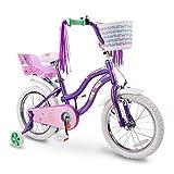 COEWSKE Bicicleta para niños con Marco de Acero para niños Little Princess Style 12-18 Pulgadas con Rueda de Entrenamiento (Morado, 16 Pulgadas)