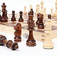 チェス無垢材セット、磁気木製折りたたみチェスセット、木製ポータブル国際チェスチェッカーボード面白いゲーム、24 * 24cm