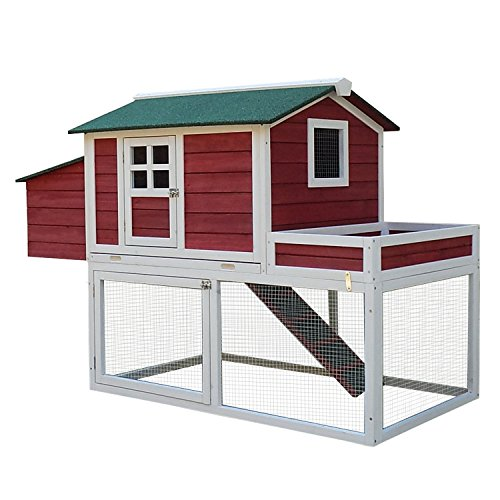 PawHut 63' Farmhouse Wooden Chicken Coop with Display Top, Run Area and Nesting Box