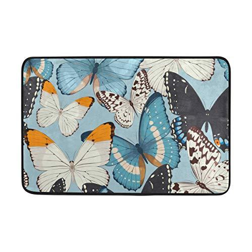 MALPLENA Paillasson antidérapant Motif Papillons Bleu