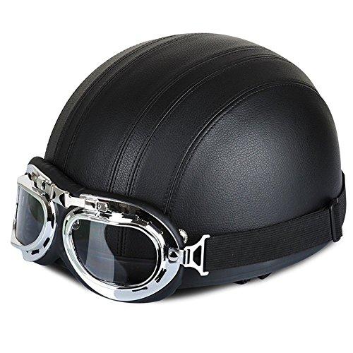 Xiaokesong@Hommes et des femmes Cuir 54-60cm réglable de moto Lunettes casque demi Casques Vintage Style(Noir)