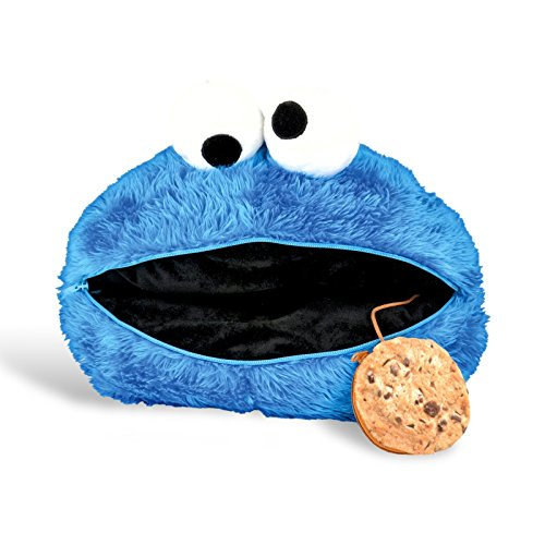 Sesamstrasse Kissen Krümelmonster Plüschkissen Cookie Monster Kuschelkissen zum Öffnen mit Keks Geheimfach! Kinder Schmuse Kissen Krümel Monster 42cm by for-collectors-only