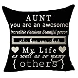 FELENIW Aunt You are Awesome Beautiful Throw Pillow Cover Cushion Case Cotton Linen Material Decorative 18x18 inches