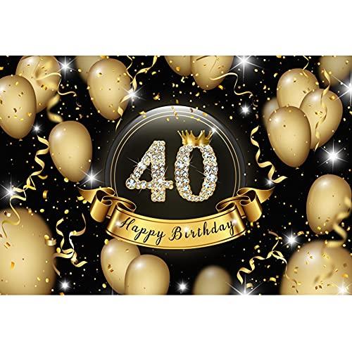 YongFoto 2,2x1,5m Felice 40esimo Compleanno Sfondo Diamante Scintillante Numero Palloncini Oro Corona Nastro Brillante Lusso Sfondo Fotografia Donne 40 Anni Festa Poster Photo Puntelli Vinile