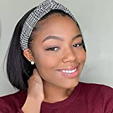 """Straight Headband Wig 10 Inch Straight Bob Headband Wigs for Black Women None Lace Half Wigs Natural Heat Resistant Synthetic Hair Headband Wig for Cosplay Party Daily Use(10"""",1B)"""