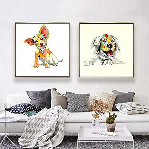 ganlanshu Colorido Cebra Perro Mascota de Dibujos Animados Chihuahua sobre Lienzo sobre Fondo de sofá decoración del hogar,Pintura sin Marco,40X40cmx2