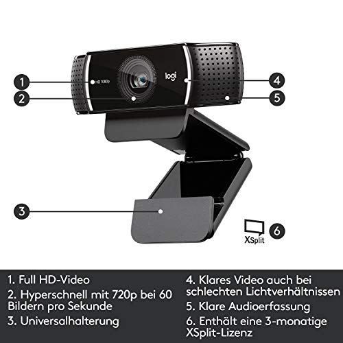 Logitech C922 PRO Webcam mit Stativ, Full-HD 1080p, 78° Sichtfeld, Autofokus, Belichtungskorrektur, H.264-Kompression, USB-Anschluss, Für Streaming via OBS, Xsplit, etc., PC/Mac/ChromeOS/Android