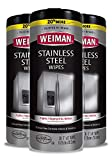 Weiman Stainless Steel Cleaner Wipes (3 Pack) Removes Fingerprints, Residue, Water Marks and Grease from Appliances - Works Great on Refrigerators, Dishwashers, Ovens, and Grills