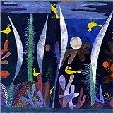 Poster 60 x 60 cm: Landschaft mit gelben Vögeln von Paul