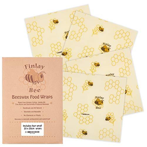 Finlay Bee Bio handgemaakte bijenwasdoekjes voor levensmiddelen - bijenwaspapier - milieuvriendelijke kunststof vrij alternatief voor vershoudfolie - inclusief eBook met recepten voor het thema honing