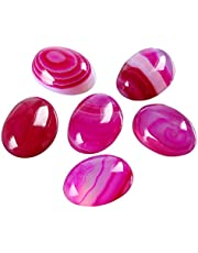 4pcs Natural Ruby Red Stripe Agate Oval Gems Gemstone Cabochons 25x18mm for Jewelry Craft Making GP12