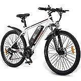 ZWJABYY Bicicleta EléCtrica De 26 Pulgadas,con Motor De 350W,BateríA De Iones De Litio De 36V/10Ah,Bicicleta EléCtrica Shimano De 21 Velocidades para Y Mujeres,White