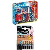 Playmobil Lot Caserne de Pompiers avec hélicoptère - 9462 + Duracell Ultra Power Piles Alcalines Type AAA, 8 Piles