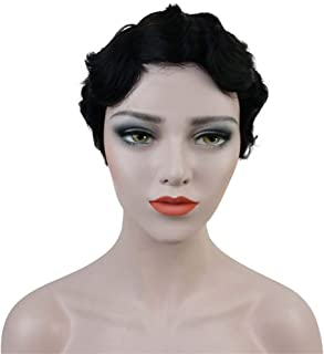Aimole Short Finger Waves Hairstyles 100% Human Hair for Women African American Black Flapper Hairstyles Wig (1B)